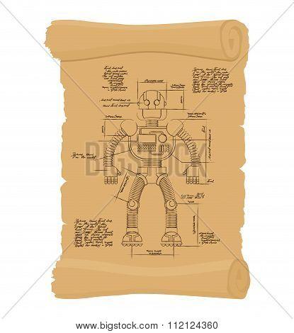 Drawing Robot Ancient Scroll. Retro Scheme Of Technological Machine Cyborg. Archaic Architectural Pr