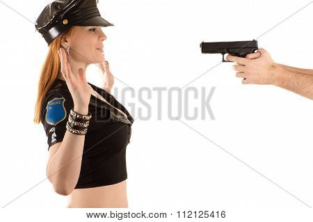 police woman with hands up gesture
