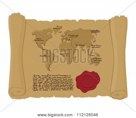 Map World Of  Ancient Scroll With Seal Of King. Old Document. Archaic Treasure Map. Abstract Handwri