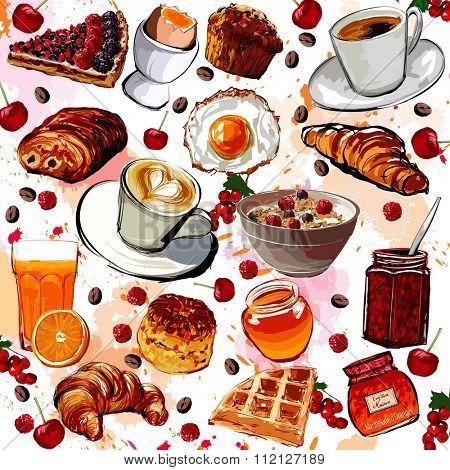 Set of breakfast food - vector illustration