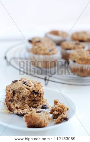 Healthy wholewheat bran muffin, a nutritious and fibre rich breakfast or snack