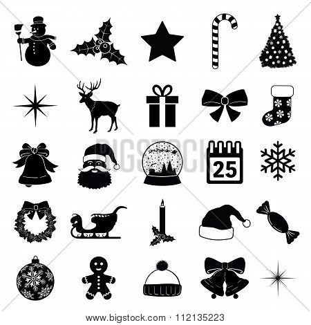 Christmas Icon Collection Black Vector Illustration Silhouettes