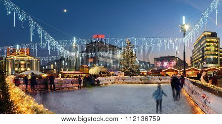 Traditional Street Market And Ice Skating Rink In Main Market Square Of The Katowice