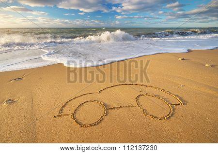 Draw car on beach sand. Conceptual design.