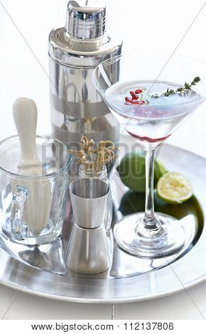Cocktail making tools accessories and a chilled martini with pomegranate seeds and thyme sprig