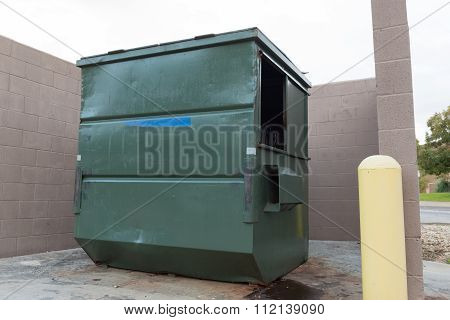Big Green Dumpster  White Background