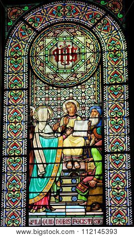 Stained Glass Of The Finding Of Jesus In The Temple Of Jerusalem