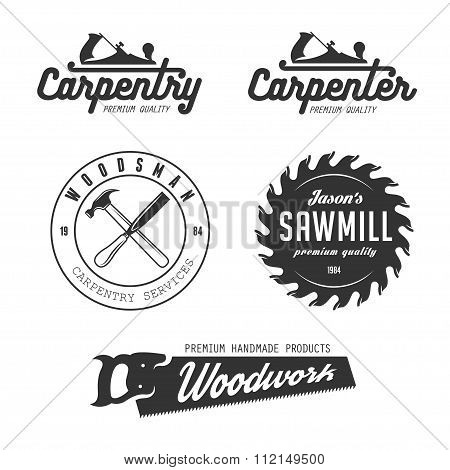 Carpentry emblems, badges, design elements.