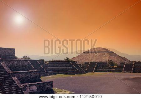 Stunning View To Teotihuacan Pyramids In Orange Sunset Light