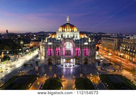 MEXICO CITY, MEXICO - OCTOBER 21, 2015: View to Palacio de Bellas Artes in the nighttime.