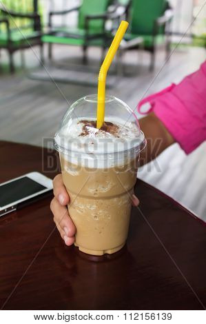 Capuchino Coffee In Take A Way Plastic Cup