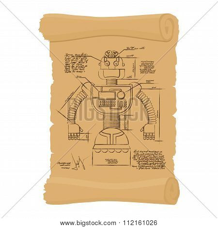 Old Drawing Of Robot On Scroll. Design Of Technological Devices Of Future On Historic Document. Smar