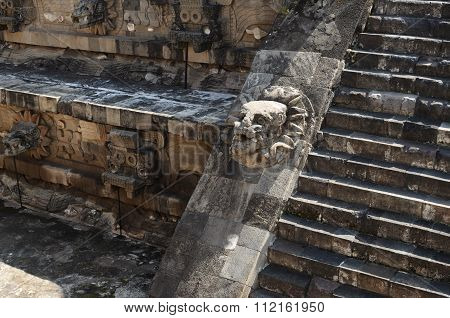 Closeup Of Ladder And Wall Of Pyramid In Teotihuacan