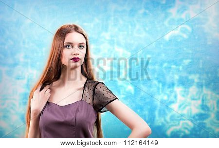 Woman Wearing Evening Dress Over Winter Style Ice Background