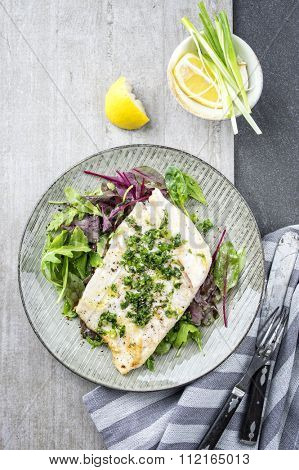 Coalfish Filet with Mixed Salad on Plate