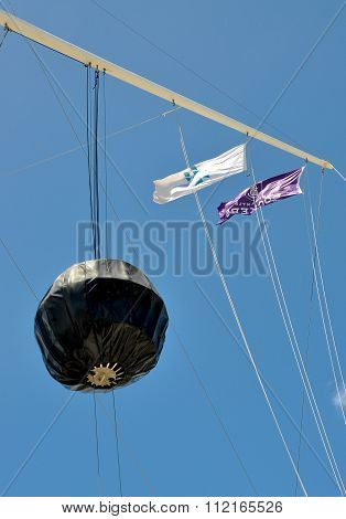 Flag Array with Black Time Ball