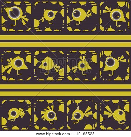 Set Of Funny Birds. Abstract Shooting Gallery. Vector