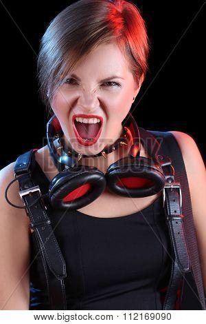 Expressive girl in headphones