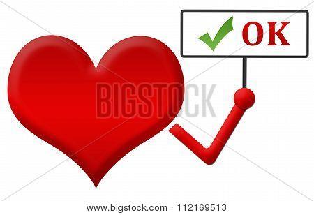 Heart Ok Heart Holding Signboard