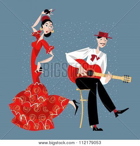Flamenco. Dancing Girl And Guitarist