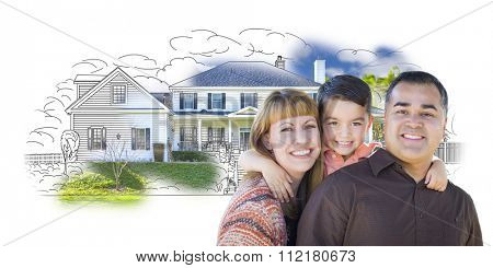 Young Happy Mixed Race Family and Ghosted House Drawing on White.