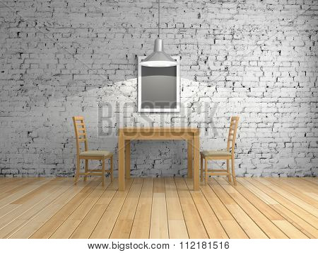 Interior room with table and chairs on brick wall background