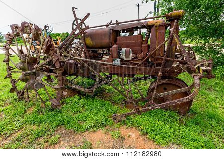 Rusty Old Texas Tractor With Metal Tires