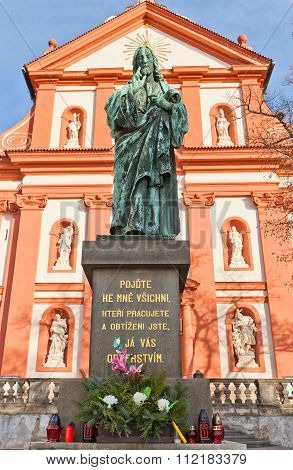 Jesus Statue Near Church Of Assumption Of Mary In Stara Boleslav