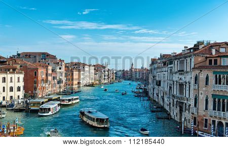 VENICE, ITALY - 17 OCTOBER 2015: Scenic panoramic view of the Grand Canal, Venice Italy taken from an elevated position in one of the historic palazzo. Venice, Italy, 17 October 2015