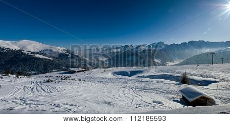 Winter Panorama With Skislopes At The Austian Alps