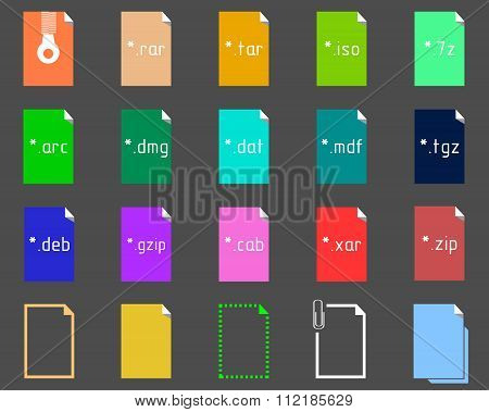 Set of Archive File Extension icons