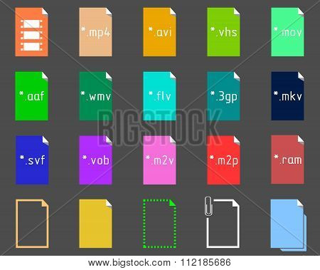 Set of icons on the theme of video file extension poster