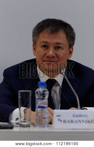 ST. PETERSBURG, RUSSIA - DECEMBER 15, 2015: General Director of communication agency SPN  Andrey Barannikov at the press conference during 4th St. Petersburg International Cultural Forum