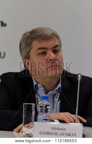 ST. PETERSBURG, RUSSIA - DECEMBER 15, 2015: Editor in chief of Internet publication Lenta.ru Alex Goreslavsky at the press conference during 4th St. Petersburg International Cultural Forum