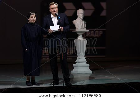 ST. PETERSBURG, RUSSIA - DECEMBER 16, 2015: Film director Alexey Uchitel (center) during the closing ceremony of 4th St. Petersburg International Cultural Forum