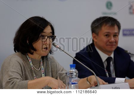 ST. PETERSBURG, RUSSIA - DECEMBER 15, 2015: General Director of the Russian Museum Association Zelfira Tregulova at the press conference during 4th St. Petersburg International Cultural Forum