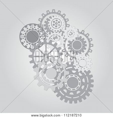 Business mechanism concept. Abstract background with connected gears and icons for strategy, service