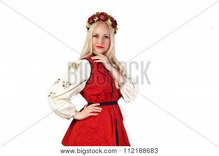 Girl In Ukrainian National Traditional Costume And Chaplet