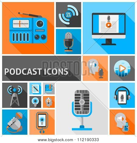 Podcast icons flat