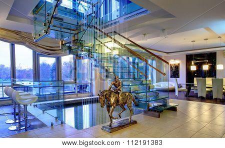 Bronze Figure Of Jockey In Interior Drawing Room Maisonette
