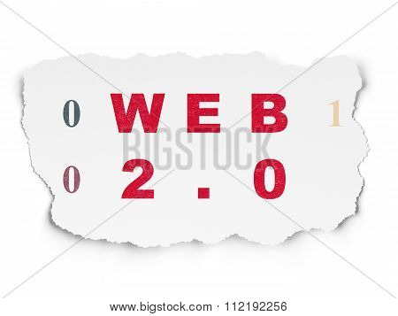 Web development concept: Web 2.0 on Torn Paper background