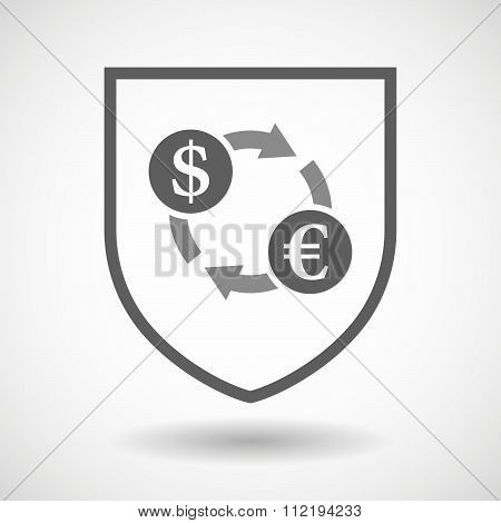 Line Art Shield Icon With A Dollar Euro Exchange Sign