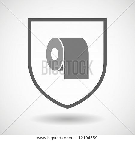 Line Art Shield Icon With A Toilet Paper Roll