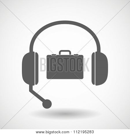 Assistance Headset Icon With  A Breiefcase