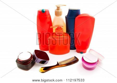 Cream, Hairbrush And Other Toiletry