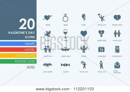 Set of Valentineys Day icons