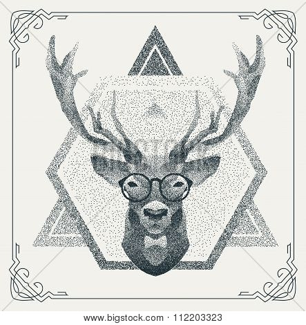 Halftone hipster deer with black Dots. Vector Illustration.