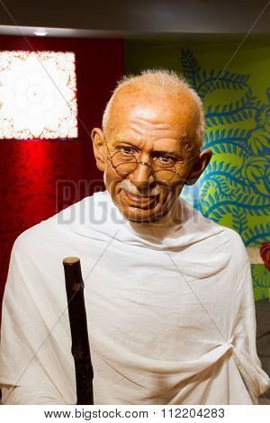 Bangkok, Thailand - December 19: Wax Figure Of The Famous Mahatma Ghandi From Madame Tussauds