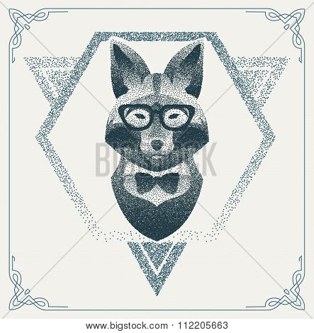 Halftone hipster fox with black Dots. Vector Illustration.