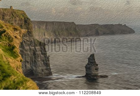 Oil Painting Showing The Cliffs Of Moher In Ireland